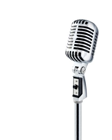 Professional Retro Microphone Over White With Text Area (image contains clipping path for easy background removing) photo