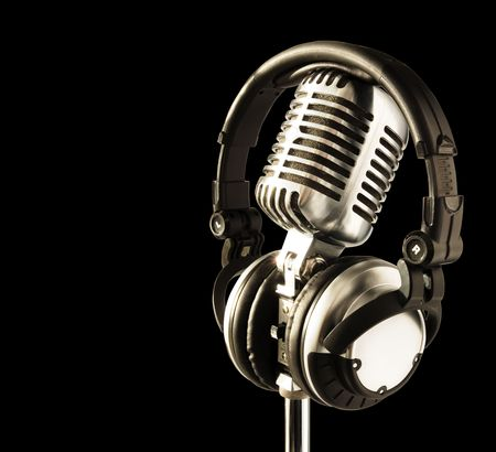 On The Air!! Professional 'Retro' Microphone & DJ Headphones (with clipping path for easy background removing if needed) Stock Photo - 554781
