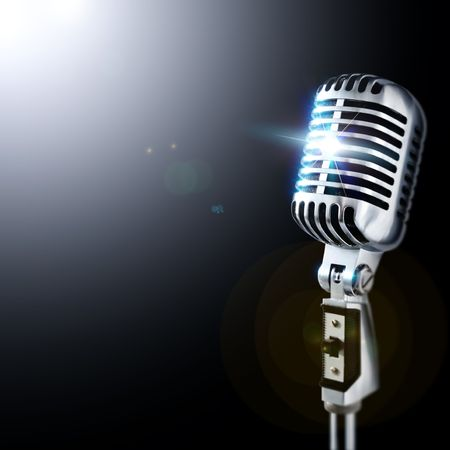 microphone retro: Shiny Vintage Microphone In Spotlight