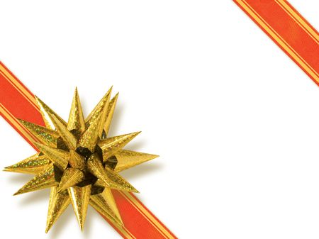 Luxury Golden Star-Shaped Bow (+clipping path for easy background removing if needed) Stock Photo - 627299