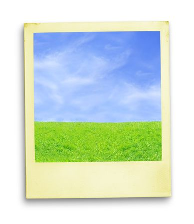 recollection:  Photo: Blue Sky And Green Grass (with clipping path for easy background removing if needed)