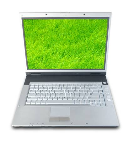 needed: Laptop Computer With Green Grass On Screen (with clipping path for easy background removing if needed) Stock Photo