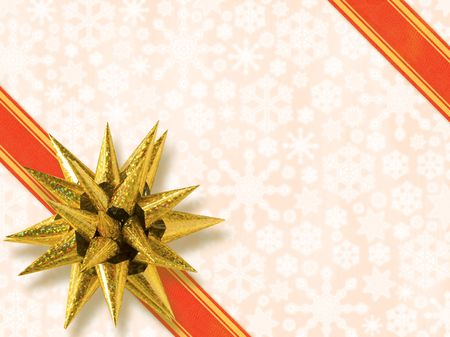 Luxury Golden Star-Shaped Bow Over Snowflakes Background  (with clipping path for easy objects pick out if needed) Stock Photo - 627293