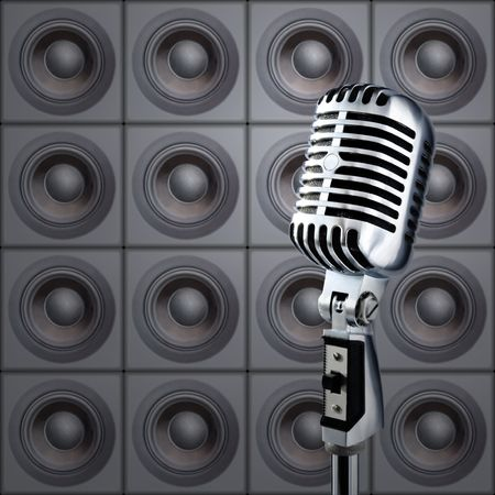 Professional Microphone Against The Wall Of Speakers Stock Photo - 633334