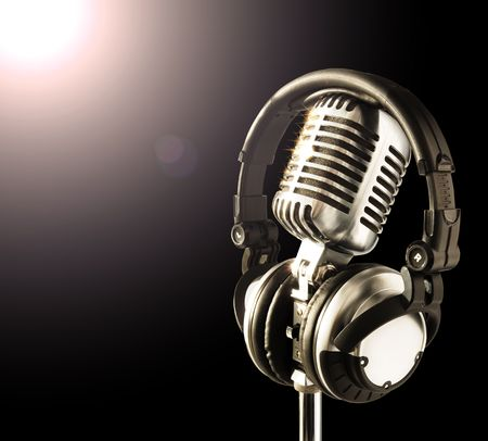 Shiny Professional Mic And Headphones In Spotlight Stock Photo - 633335