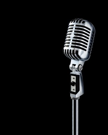 Retro Microphone Over Black With Text Area (+clipping path for easy background removing if needed) Stock Photo - 633329