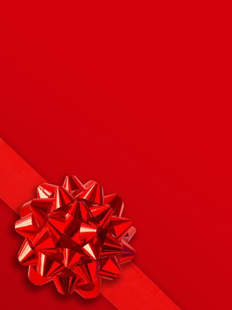 Red Gift Ribbon Over Solid Background (Space For Text) photo