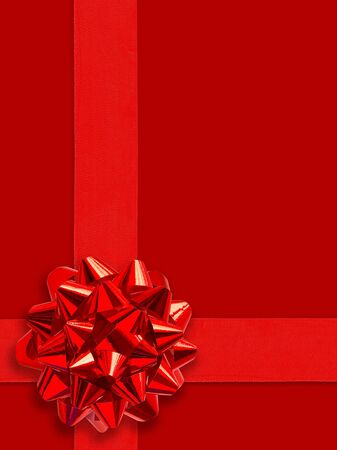 Red Gift Ribbon Over Solid Background (with clipping path for easy object pick out if needed) photo