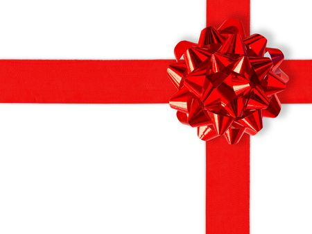 Red Gift Ribbon Over White (with clipping path for easy background removing if needed) photo