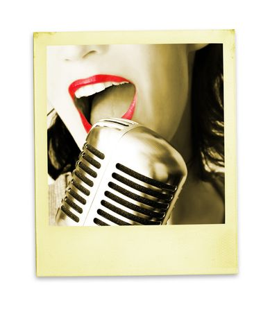 Retro Photo: Singer (with clipping path for easy background removing if needed) photo