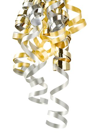Christmas Curly Ribbons Isolated On White (with clipping path for easy background removing if needed)