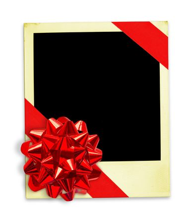 Frame Wrapped In A Gift Bow (with clipping paths for easy framing your picture and background removing if needed) photo