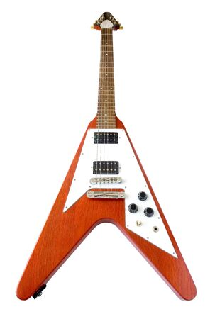 Flying V Guitar Isolated Over White (with clipping path for easy background removing if needed)