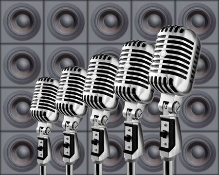 Retro Mics In A Row Against The Wall Of Speakers Stock Photo - 633300