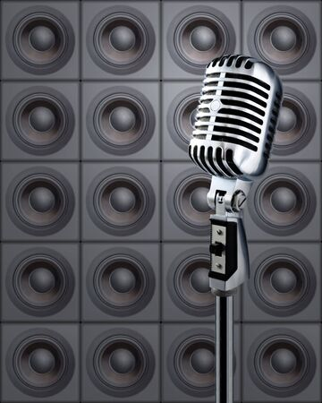 Professional Microphone Against Wall Of Speakers