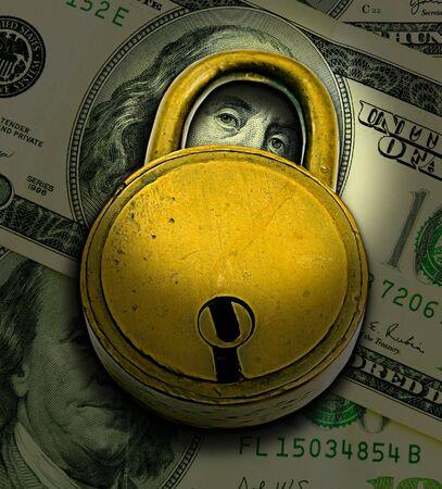 company secrets: Concetto di sicurezza finanziaria (Blocca oltre denaro)