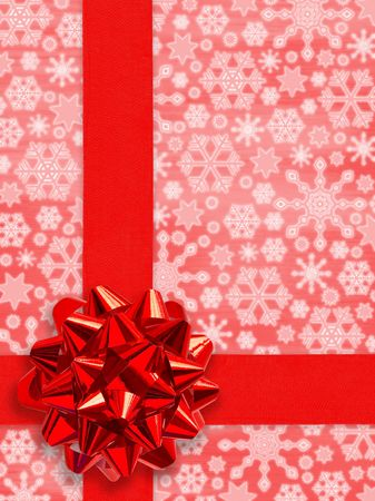 Christmas Present (Red Gift Ribbon Over Snowflakes Background (with clipping path for easy picking out the ribbon))