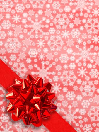 Christmas Postcard: Red Gift Ribbon Over Snowflakes Background photo