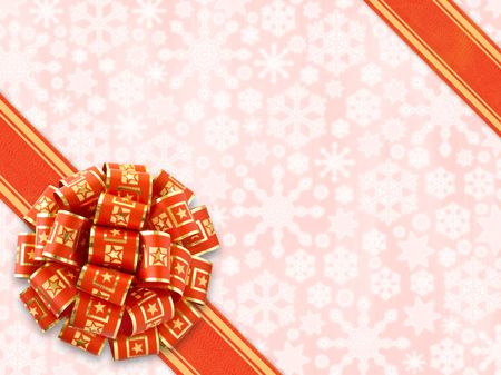 Red Gift Bow Over Snowflakes Background (with clipping path for easy object pick out if needed) photo