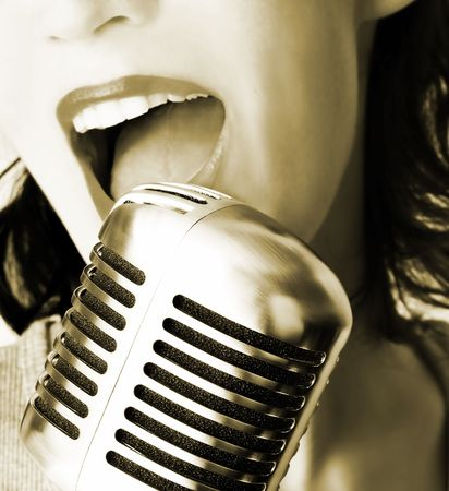 shure: Retro Singer Stock Photo