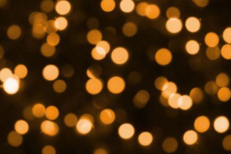 Golden Magic Christmas Lights Blurry Closeup