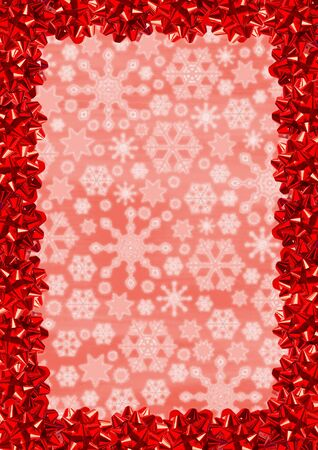 Christmas Border (Red Gift Bows On Snowflakes Background) photo