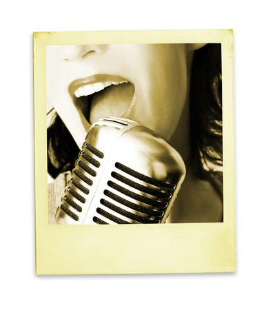 shure: Retro Photo: Singer (with clipping path for easy background removing if needed)