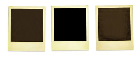 Retro Photo Frames: Three Old Polaroids Isolated On White (with clipping paths for easy framing your pictures and background removing if needed) Stock Photo