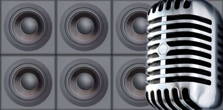 Mike&Speakers (Professional Microphone Against Speakers Background) Stock Photo - 647707