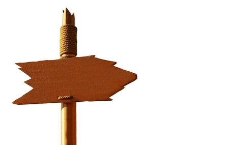 Handmade Wooden Signpost Isolated On White (with clipping path for easy background removing if needed) photo