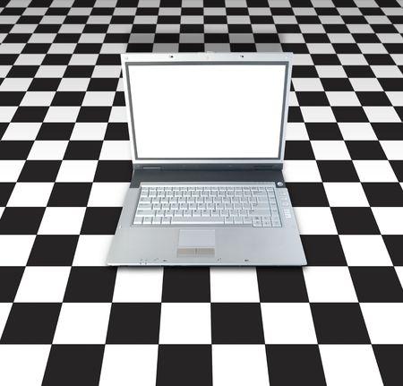 checker board: Net Gaming (ordenador port�til a bordo de antecedentes Checker)