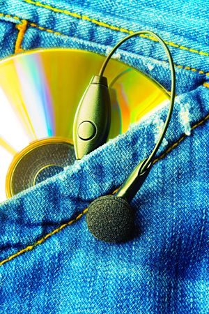 Music In My Pocket (Disc andamp,amp, Earphone In A Jeans Pocket) Stock Photo - 647569