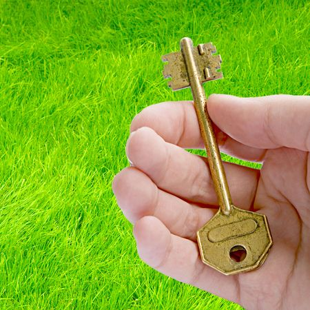 Natural Solution (Key In A Hand Against Green Grass Background)