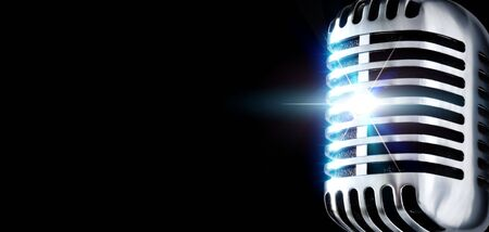 Shiny Vintage Microphone In Spotlight (Design Element) Stock Photo - 647512