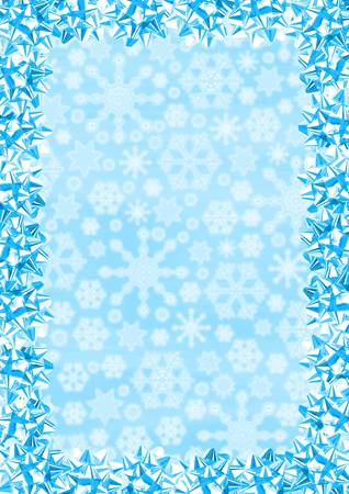 casing paper: Christmas Border (Blue Gift Bows On Snowflakes Background)