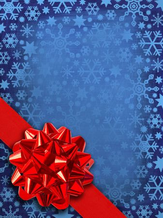 Christmas Card Template: Red Gift Ribbon Over Blue Snowflakes Background photo