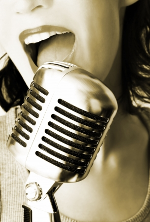 shure: Retro Singer Stock Photo