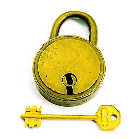LockedUnlocked (Lock And Key Isolated Over White) photo
