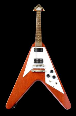 Classical Flying V Guitar Isolated Over Black (with clipping path for easy background removing if needed) Stock Photo - 670561