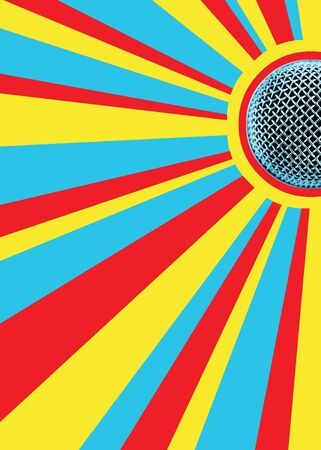 Sunny Mic Disco Background With Area For Text