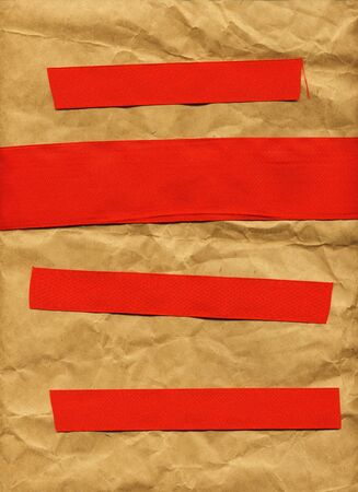 Contemporary Poster Template (Brown Paper With Red Ribbon Lines - Space For Text) photo