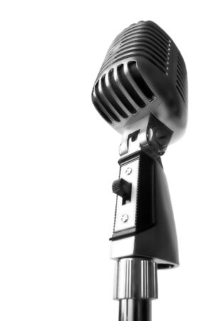 shure: Vintage Elvis Microphone Over White Background (With Text Area)