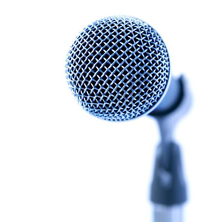 Professional Microphone Over White Background