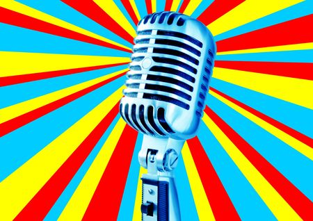 Disco Mic (Retro Microphone Against Disco Background With Text Area) Stock Photo