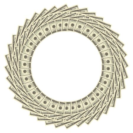 sumptuousness: Dollars Border Over White Background