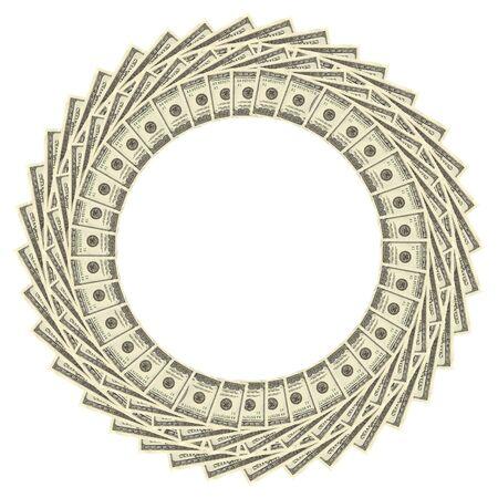 splendour: Dollars Border Over White Background