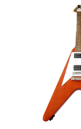 Flying V Guitar Isolated Over White (with clipping path for easy background removing if needed) Stock Photo - 681256