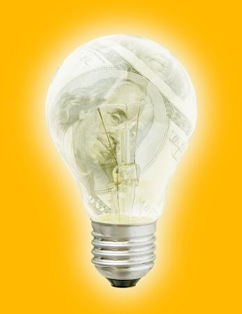 needed: Business Solutions. Light Bulb With Dollars Image In It (with clipping path for easy background removing if needed)