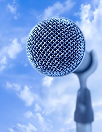 shure: Open Air Mic (Professional Microphone Over Blue Sky)