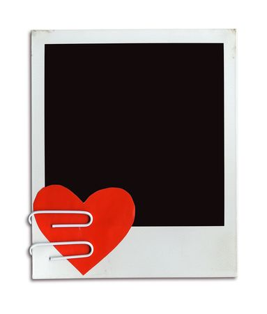 Valentine Photo ( Frame With Attached Valentine Heart ( clipping path for easy background removing and framing your picture if needed) photo
